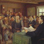 """Nikolay Bogdanov-Belsky """"Lesung in der Dorfschule"""""""